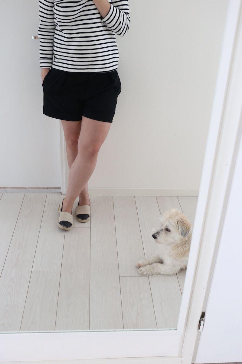 Homevialaura | white floor | Pergo | Armor lux | breton shirt | espadrilles | coton de tulear