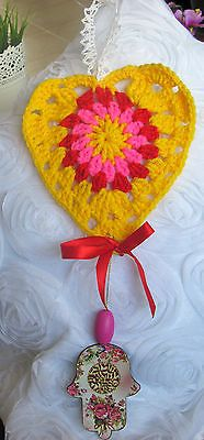 "HANDMADE CROCHETED HEART SHAPE DOOR DECOR WITH  PAINTED ""CHAMSAH""  MULTI COLOR"