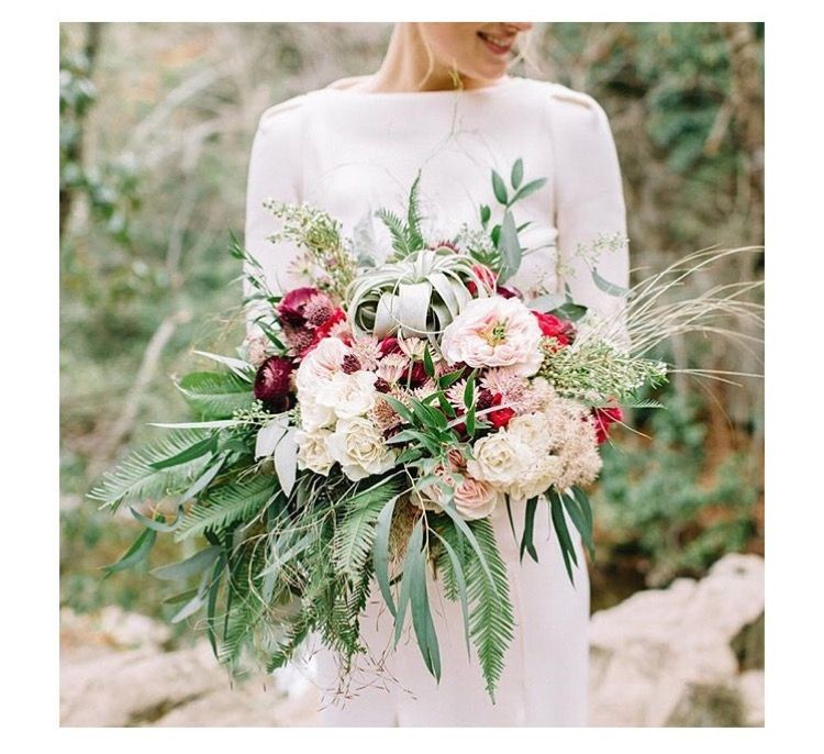 Amazing bouquet without hot pink and instead more burgundy/maroon