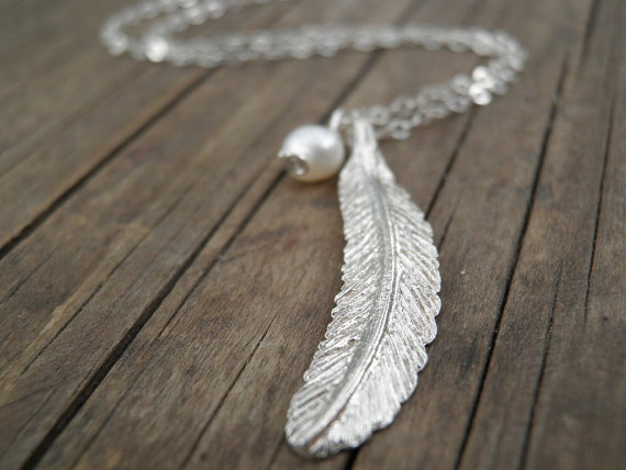 Long silver necklace silver feather necklace feather jewelry long silver necklace silver feather necklace feather jewelry minimalist pendant pearl necklace delicate sterling silver necklace aloadofball Gallery