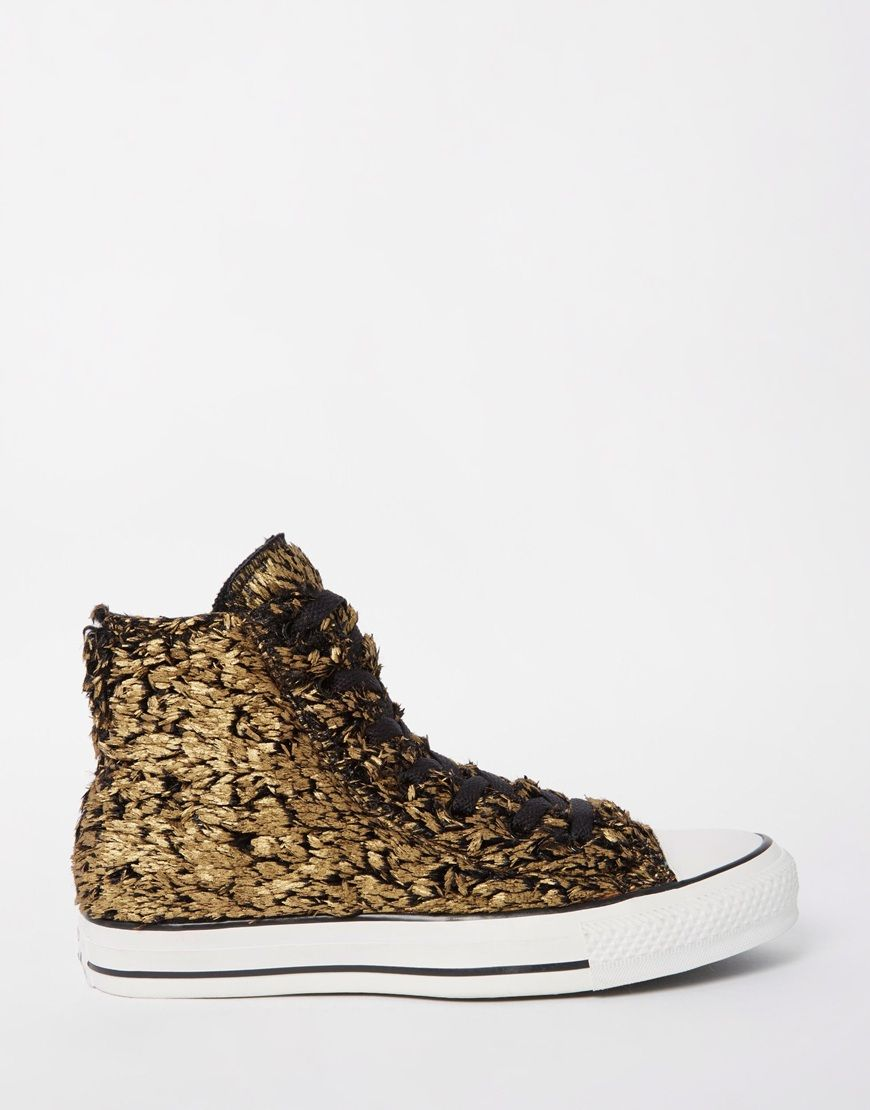 Converse Gold Sparkle Faux Fur Chuck Taylor High Top Trainers