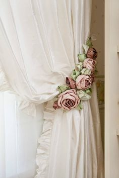 Photo of Shabby Chic Rose Curtain Tie Backs