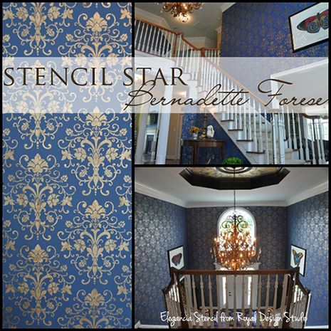The elegancia allover wall stencil in a 2 story residential ...