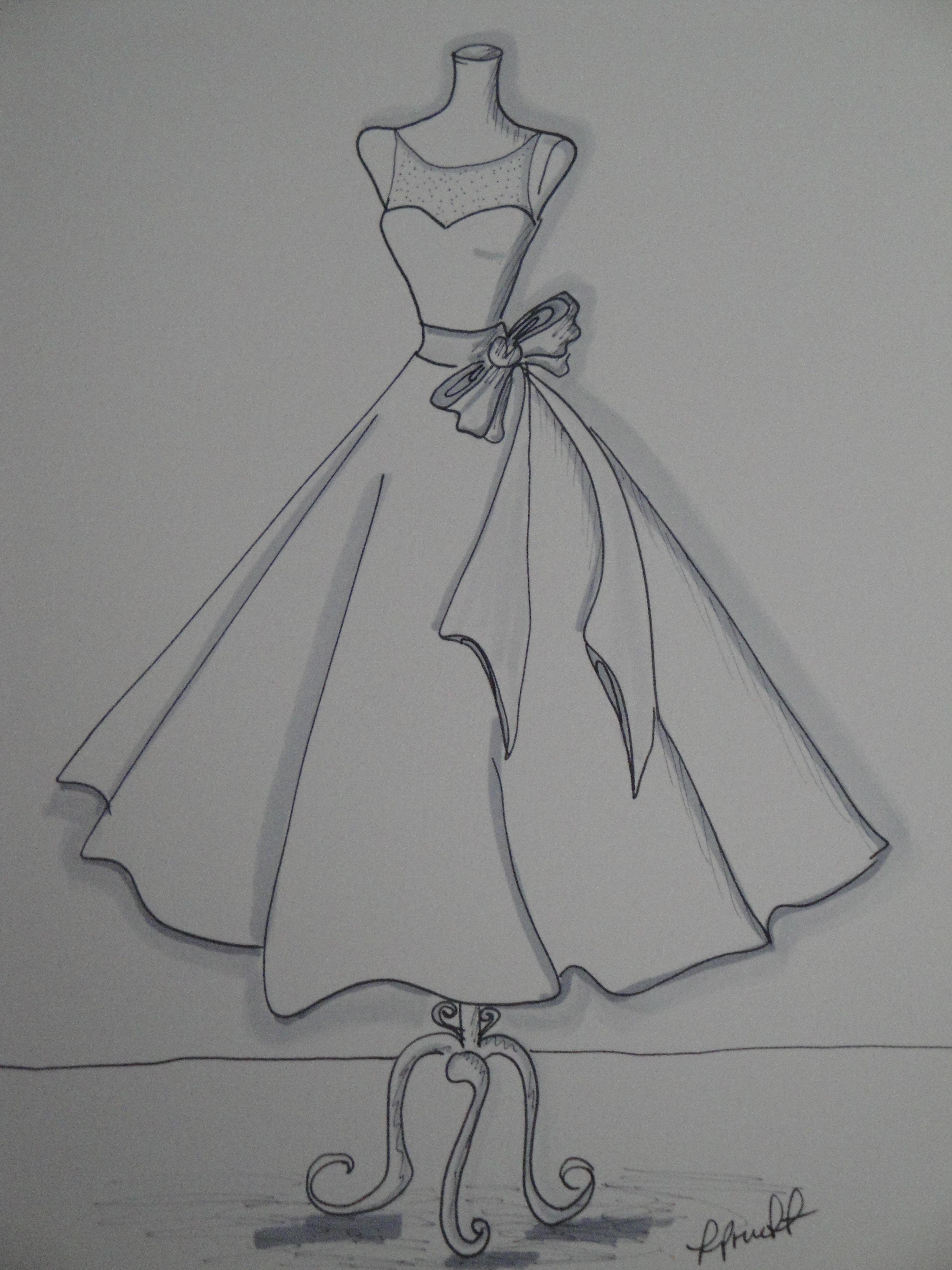 Custom Wedding Dress Sketch by Laura Pruett of Laura Arts
