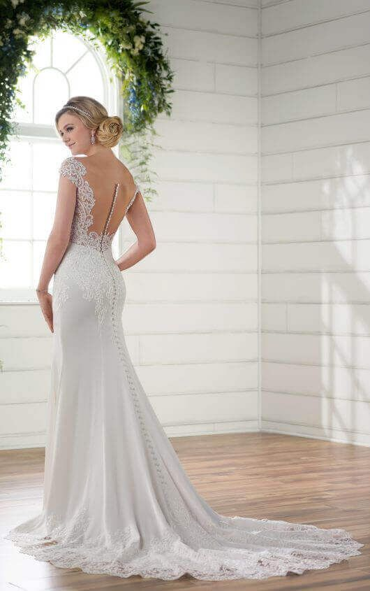 D2298 Off The Shoulder Wedding Gown With Lace Train By Essense Of Australia Available At Bridal Boutique Maeme Louisiana