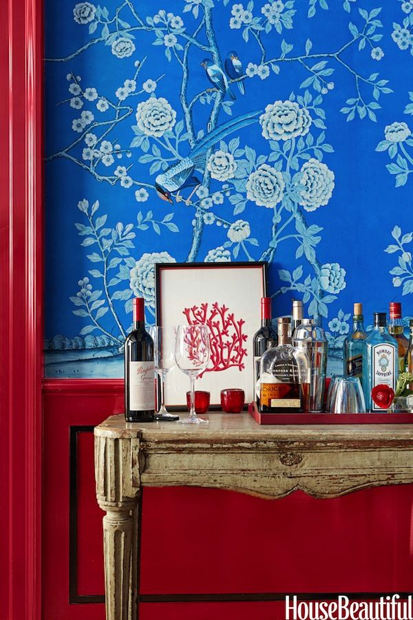 Beautiful blue and red - custom colored de Gournay wallpaper by Christopher Maya in the Sept House Beautiful color issue via Quintessence