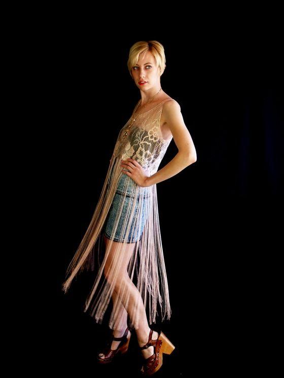 vtg 80s sheer pink lace FRINGE avant garde FESTIVAL KIMONO vest blouse dress $325.00