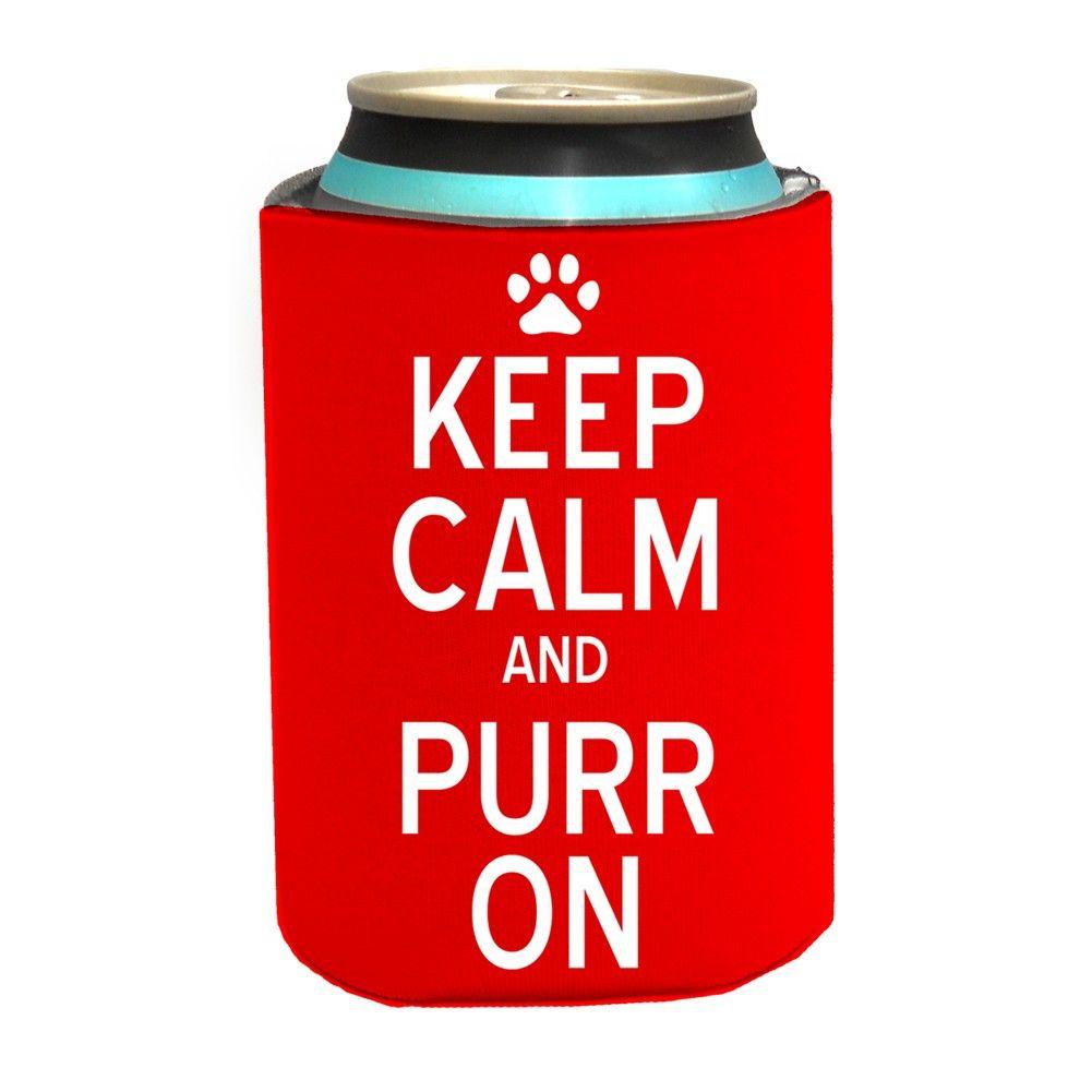 Keep Calm & Purr On Koozie #catlover #drinkholder #purr #petgift
