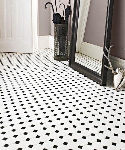 Topps Tiles Shapes Octagon Matt White Black Dot Mosaic Floor For The Hallway