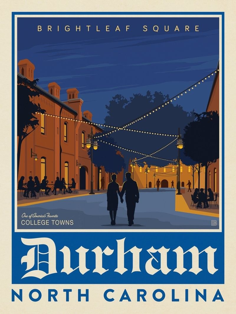 Anderson Design Group American Travel American College Towns Durham Nc American Travel Posters American Travel Travel Posters