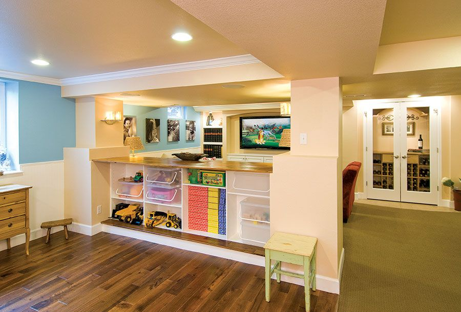 basement great room with home theater basement basement kids rh pinterest com