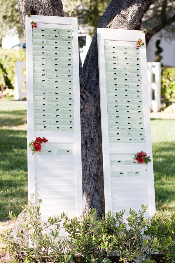 wedding table name card size%0A Reception Table Place Cards on White Shutters  Shutters come in all sizes  and can be