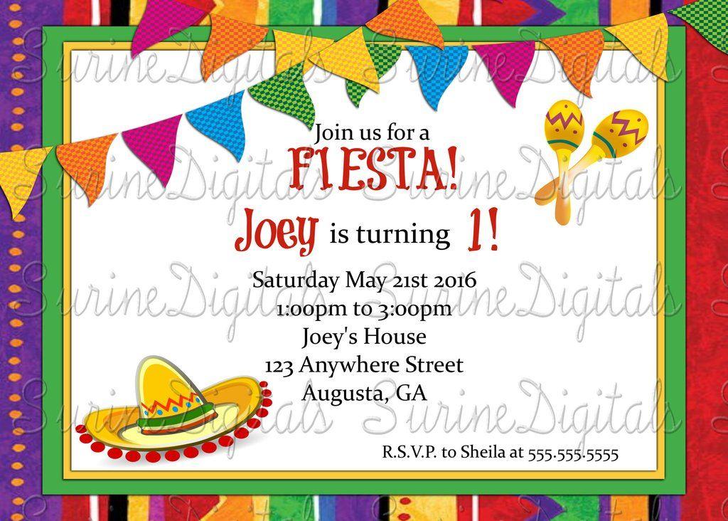 Let\'s Have a Fiesta! Party invitation/ Spanish Themed Party ...