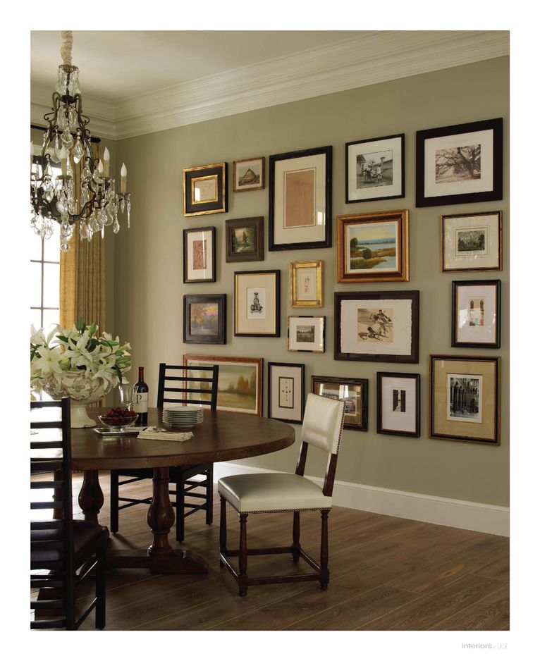 Fabulous Arrangement Of Art On The Dining Room Wall