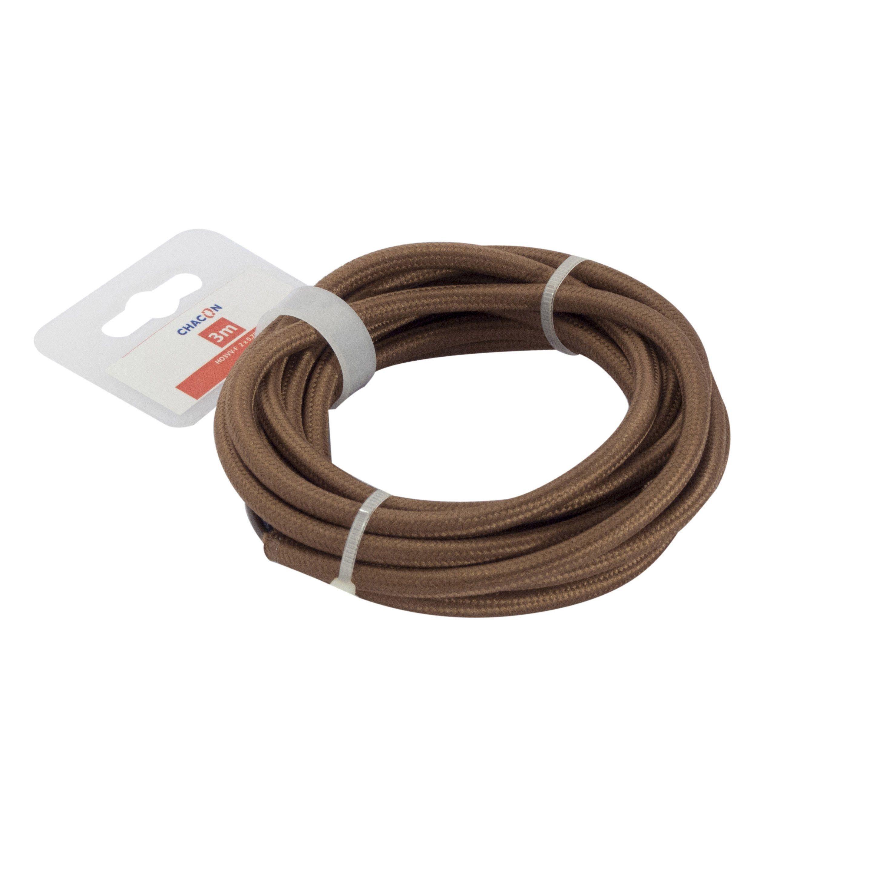 Cable Textile 2 G 0 75 Mm H03vvf 3 M Marron En Couronne Textiles Marrons Couleur Marron