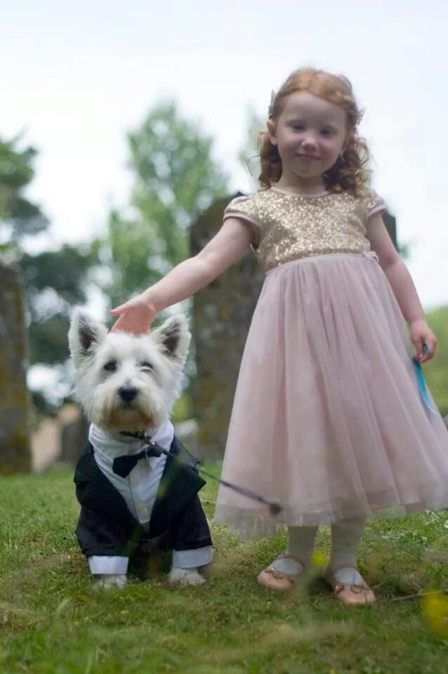 Flower girl an her dog