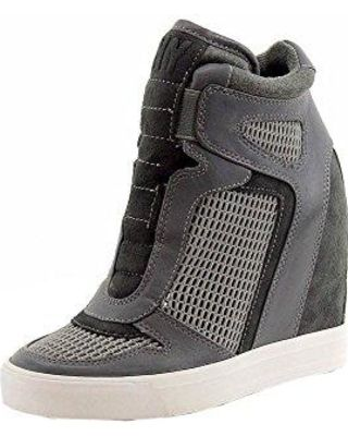 c3c65b14c87 Donna Karan DKNY Women s Grand Cold Grey Charcoal Wedge Sneakers Shoes