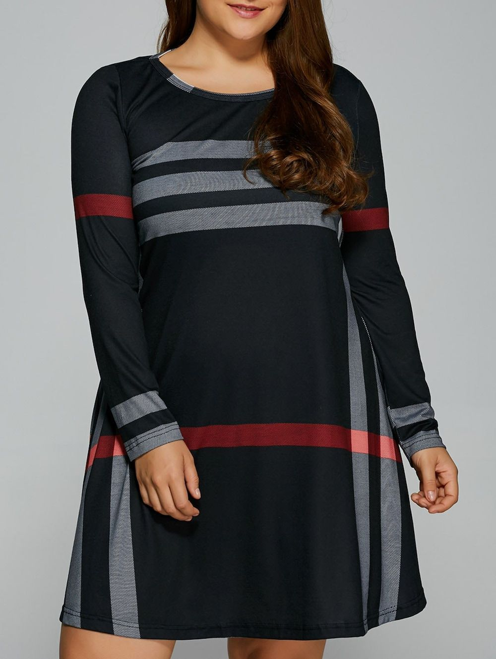 Plus size long sleeve striped tee dress pinterest long sleeve
