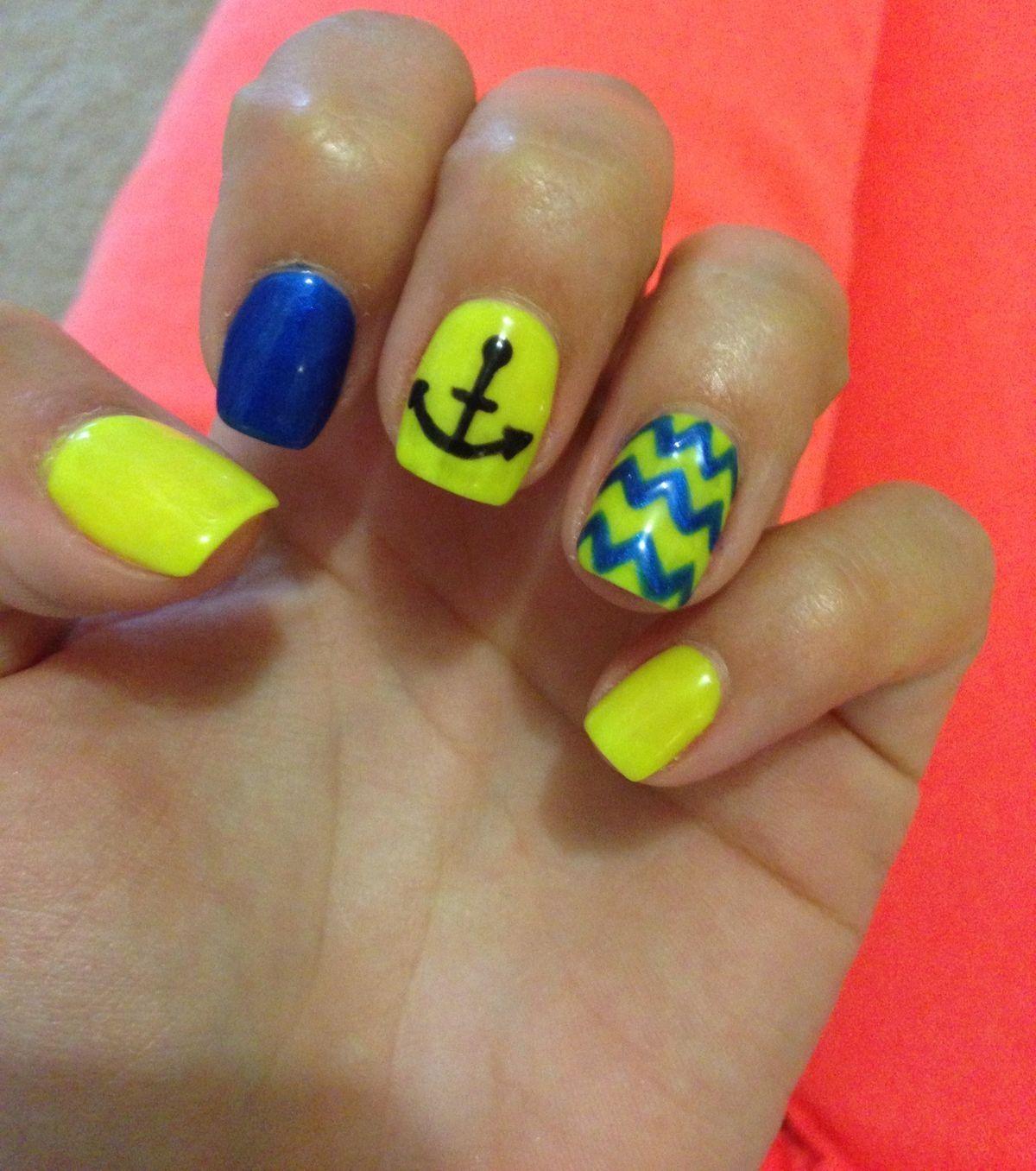 Blue and Yellow Anchor Nails   nails   Pinterest   Anchor nails ...