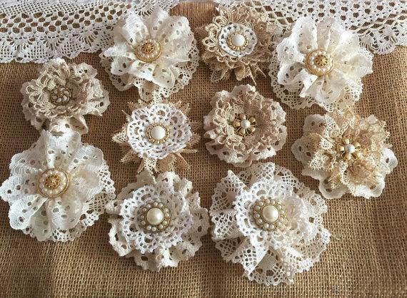 10 Shabby Chic Vintage Lace Handmade Flowers Schleifen