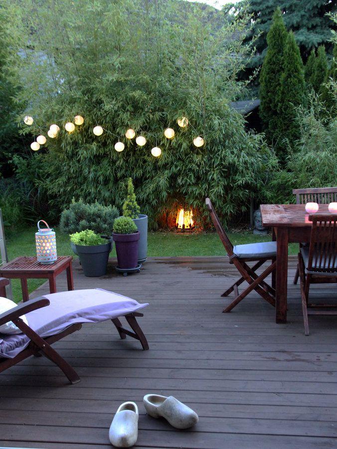 Heute nach der hitze auf der terrasse die neue beleuchtung macht es schön kuschelig