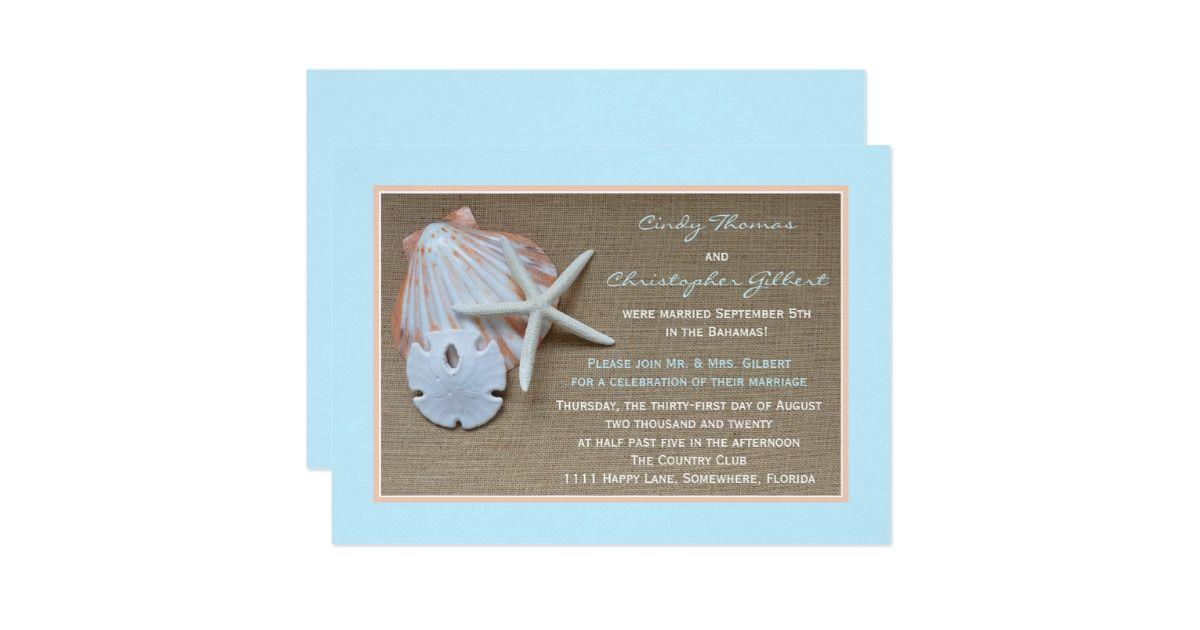 Post Wedding Reception Invitations Beach Burlap