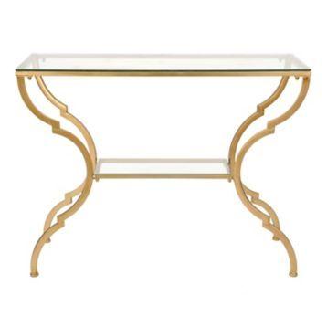 product details geometric gold glass console table basement area rh pinterest com