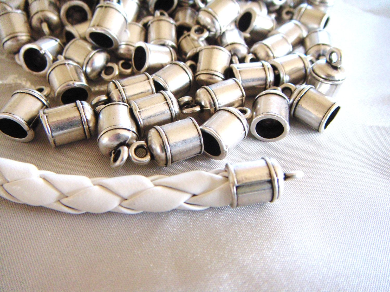 20pcs Gold Plated Brass Barrel Cord Kumihimo Glue End Caps Beads Findings