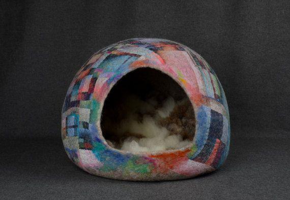 Perro gato fieltro lujo Casa cama de fieltro gato cueva