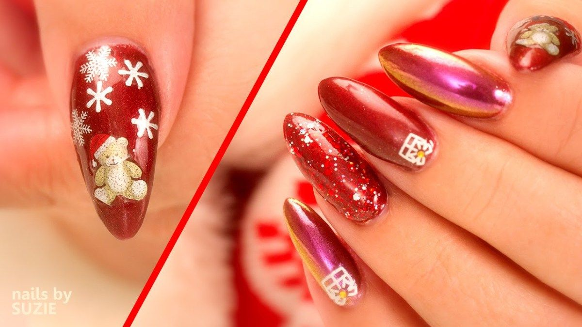Christmas Nail Art Using Chrome, Sparkles And Stickers | Beauty ...