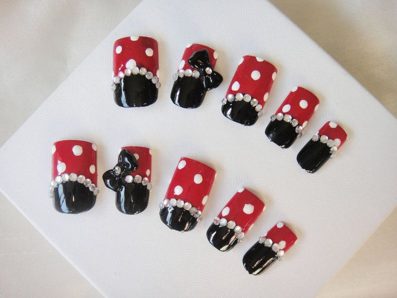 Minnie Mouse Simple Nail Set by jadelushdesigns - Minnie Mouse Simple Nail Set By Jadelushdesigns Makeup Ideas