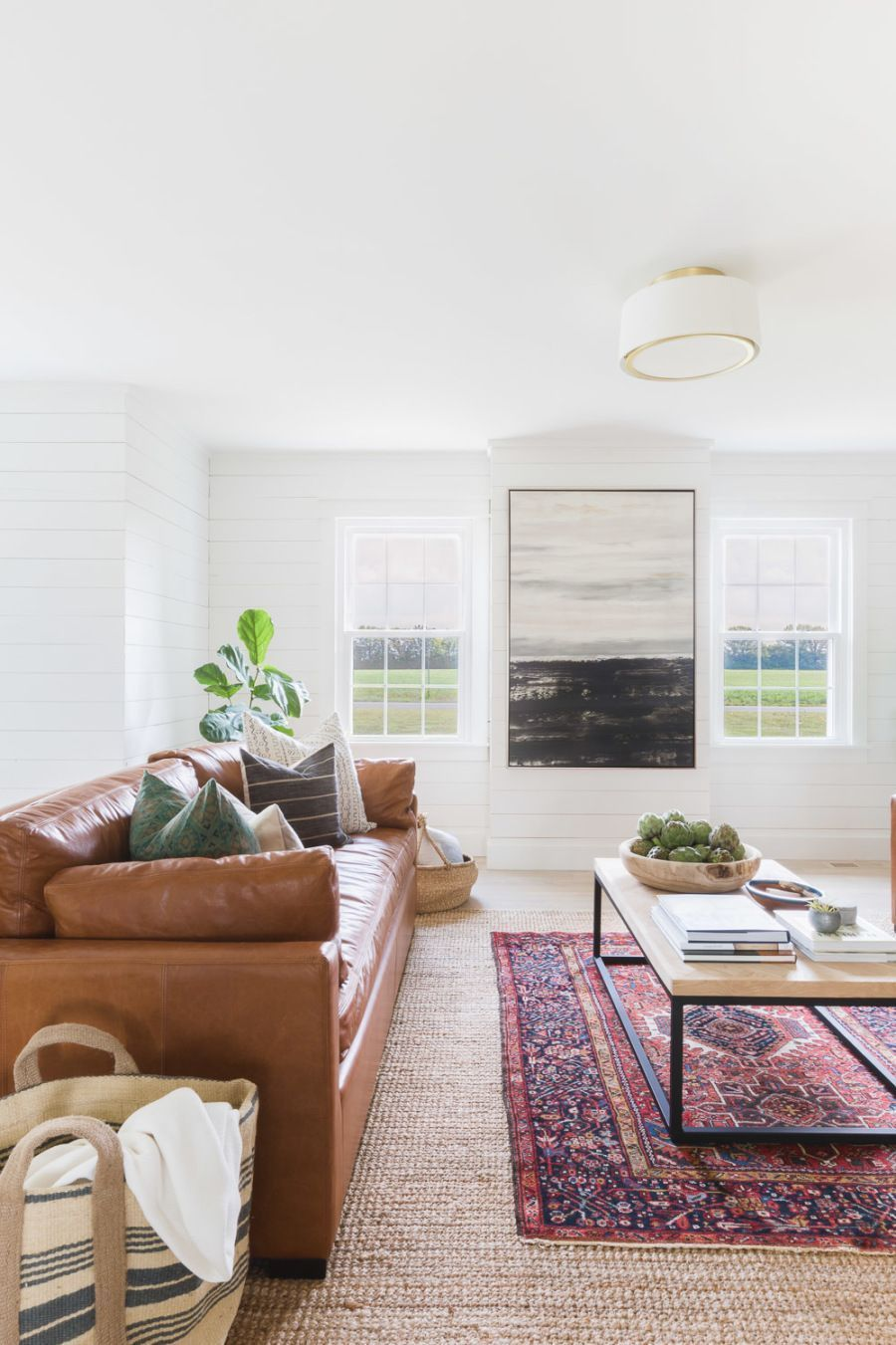 modern farmhouse style living room with shiplap