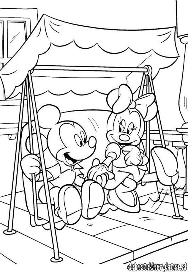 Cute Porch Swing Mickey Mouse Coloring Pages Disney Coloring