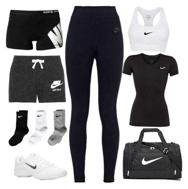 """CHEER PRACTICE AROUND THE CORNER"" by alexanderbianca ❤ liked on Polyvore featuring NIKE"