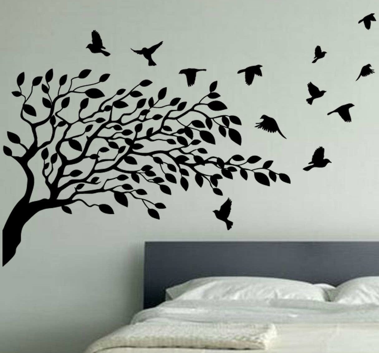 Wallpaper Wall Decals Stickers Art Vinyl Removable Birdcage Bird ... for Wall Sticker Tree Silhouette  174mzq