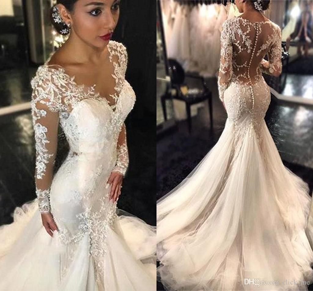 Vintage Long Sleeves Wedding Dresses Mermaid Style 2016 V Neck Beads Lace Applique Long Sleeve Wedding Dress Lace Sheer Wedding Dress Wedding Dress Long Sleeve