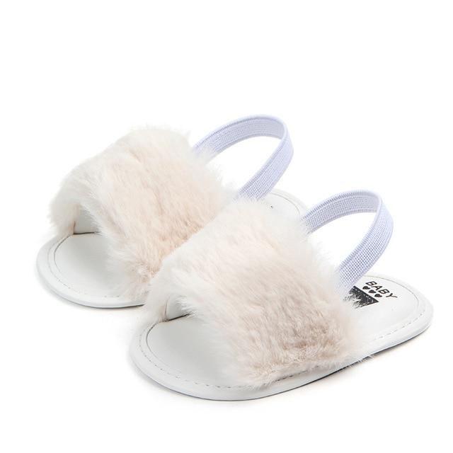 Newborn Baby Girl Soft Sole Crib Shoes Cute Fluffy Fur Summer Slippers Sandals