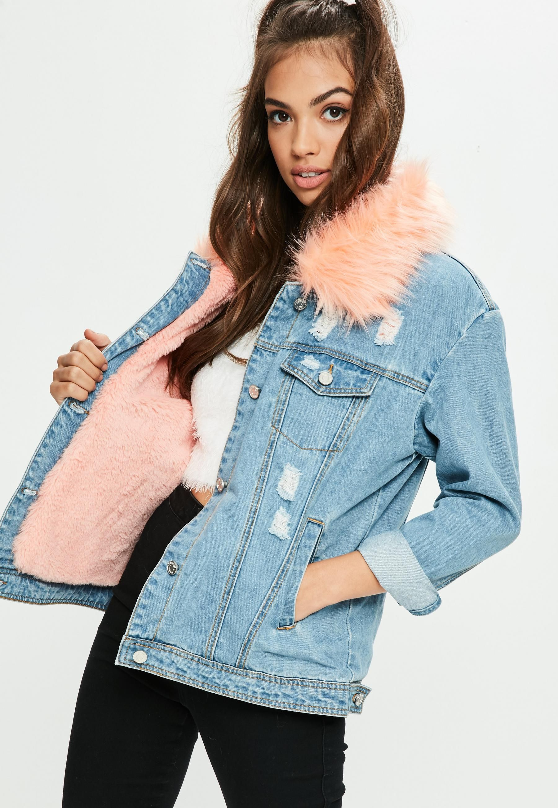 4c10d59c92e Blue Pink Faux Fur Collar Denim Jacket | Missguided | Jackets in ...
