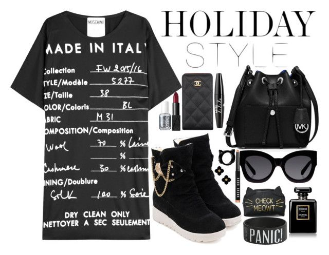 """bLACK"" by lynnesummersxx ❤ liked on Polyvore featuring Moschino, MICHAEL Michael Kors, Karen Walker, Chanel, NYX, NARS Cosmetics, Essie, Tory Burch, Bobbi Brown Cosmetics and holidaystyle"