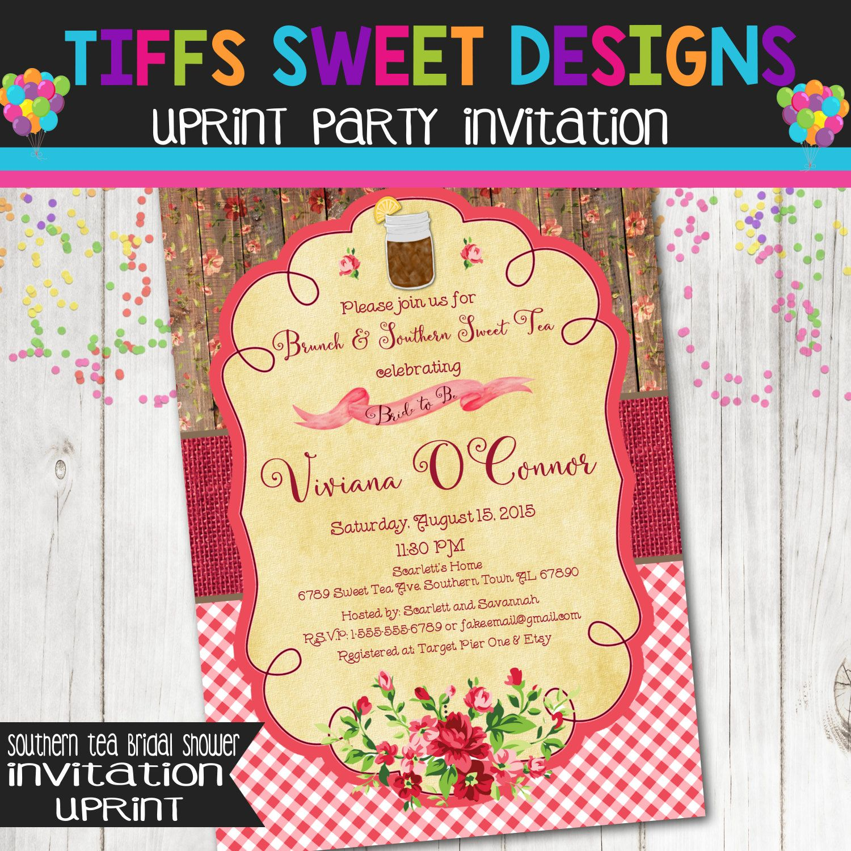 Southern Shabby Chic Mason Jar Rustic Bridal Shower Invitation