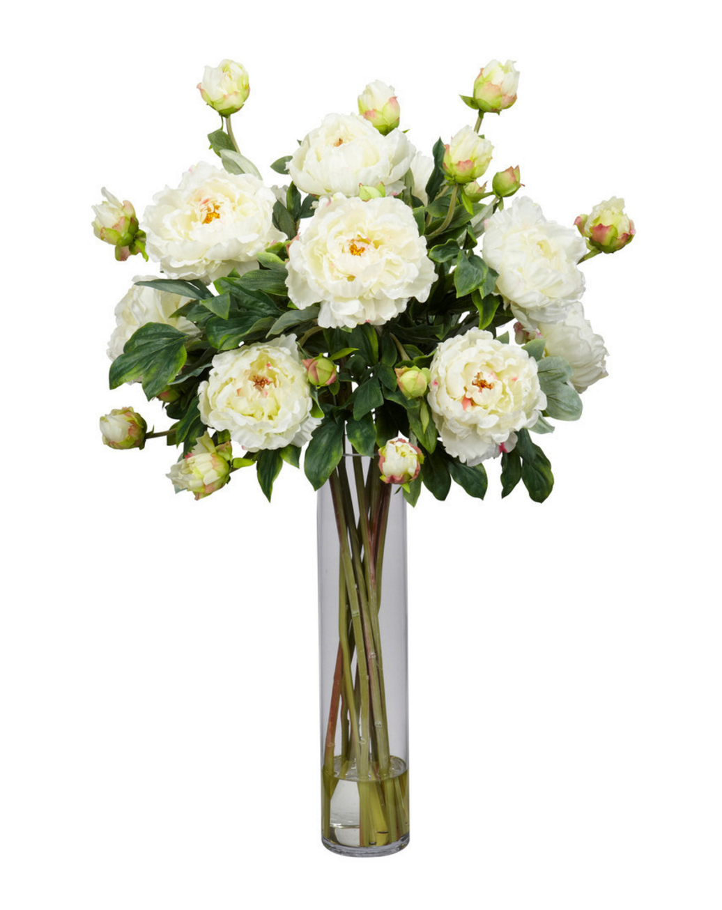 wedding centerpieces fake flowers%0A Silk peony arrangement in a glass vase  Product  Faux floral  arrangementConstruction Material  Silk and glassColor  WhiteDimensions      H x    Diameter