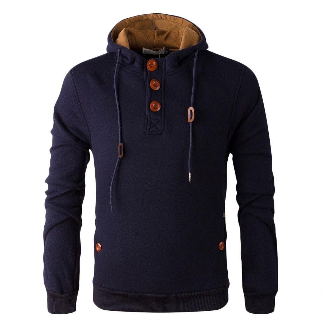 Binmer(TM)Fashion Autumn Winter Men Cotton Hoodie Sweater Coat Outwear (M, Navy)