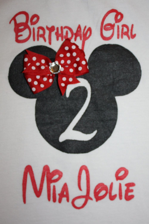 Custom Hand Painted Minnie Mouse Birthday Girl T Shirt