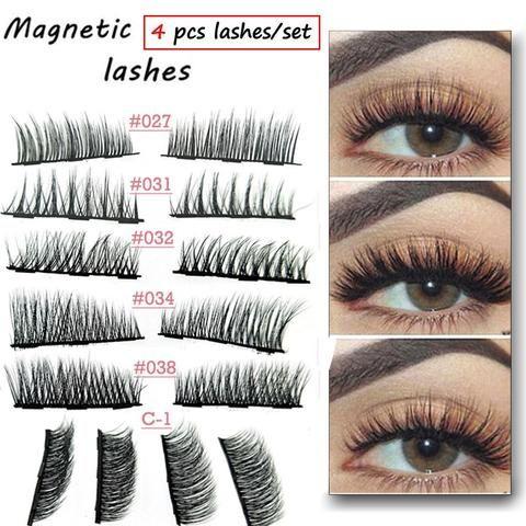 3c337f4e216 3D Mink Lashes 4PCS/Box Magnetic Eyelashes Soft Hair Double Magnet Eyelashes  Extension Eye Makeup Accessories Dropship