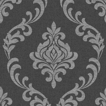 Torino Damask Wallpaper Black Silver Fd40076 Damask Wallpaper Damask Daisy Wallpaper