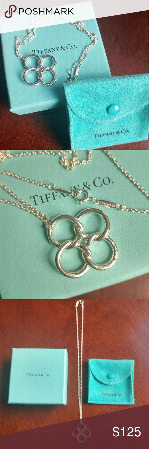 Tiffany 4 leaf clover necklace tiffanyco authentic 16 chain tiffany 4 leaf clover necklace mozeypictures Gallery