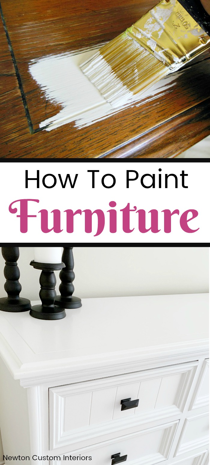 How To Paint Furniture is part of Furniture renovation, Furniture makeover, Painting furniture diy, Refinishing furniture, Painted furniture, Furniture - Learn how to paint furniture with this detailed tutorial, which includes great tips for getting a smooth finish! Update your old furniture by painting it!