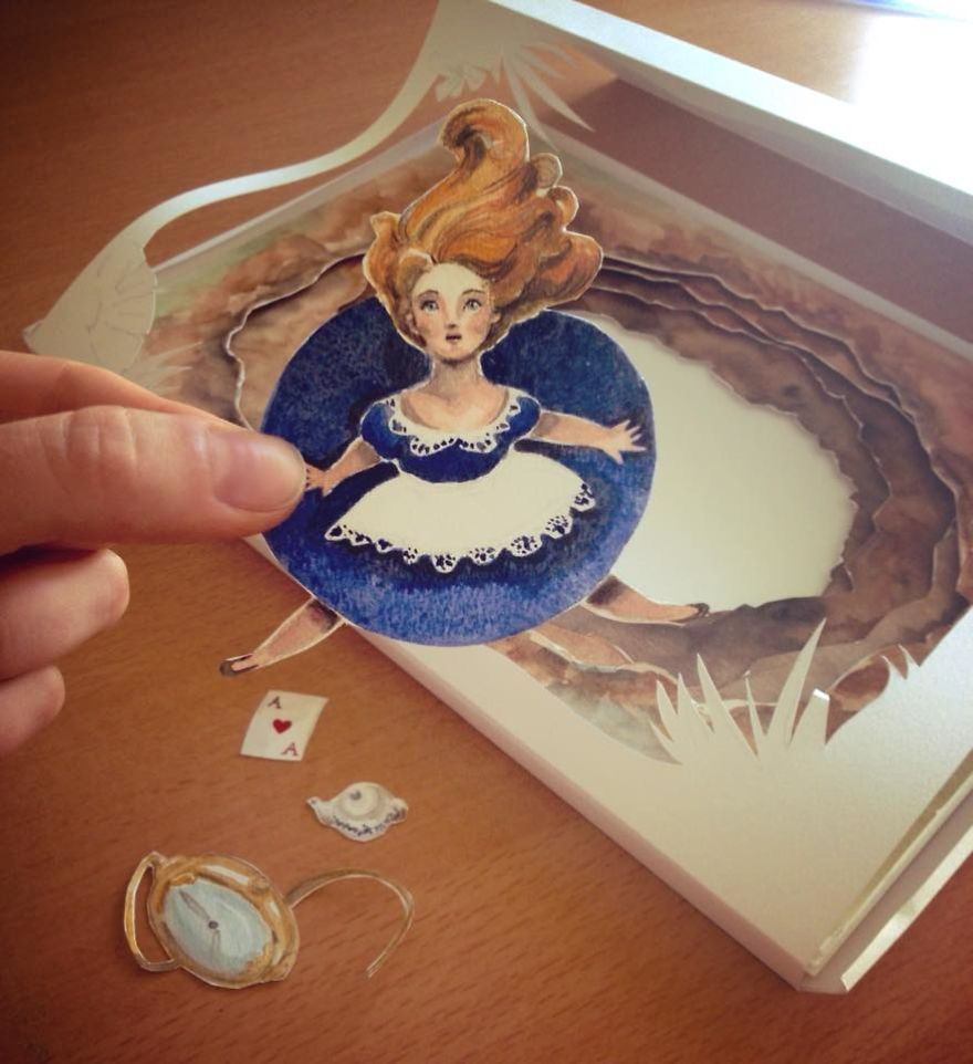 Handmade Paper Cut And Watercolor Of Fairy Tales Scenes