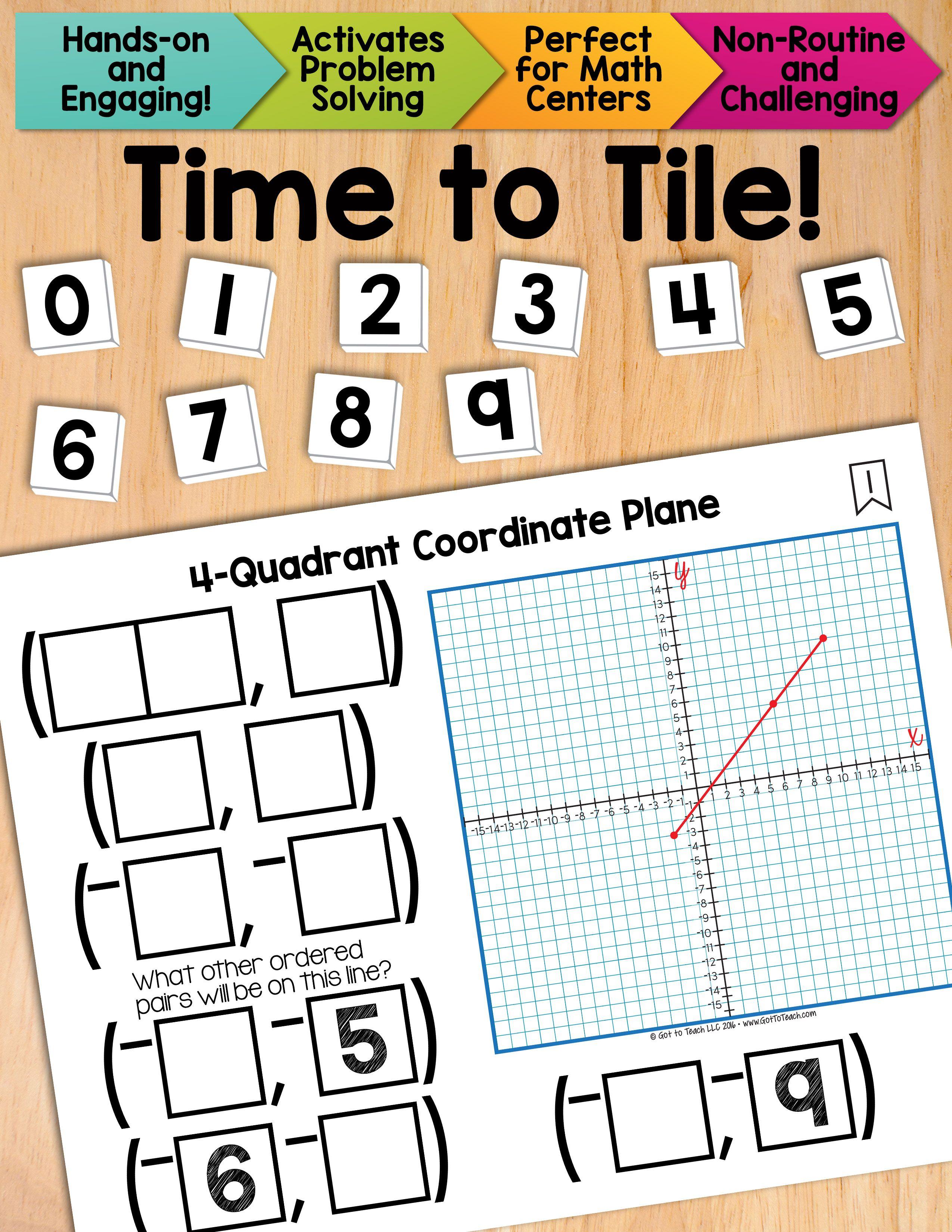 Math Tiles 4 Quadrant Coordinate Plane