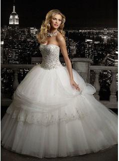 A-Line/Princess Sweetheart Chapel Train Organza  Satin Wedding Dresses With Ruffle  Beadwork (002011543)